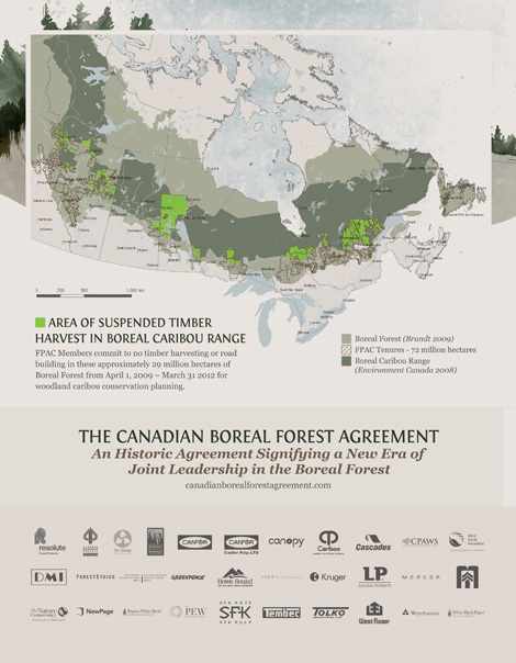 Map of The Canadian Boreal Forest Agreement
